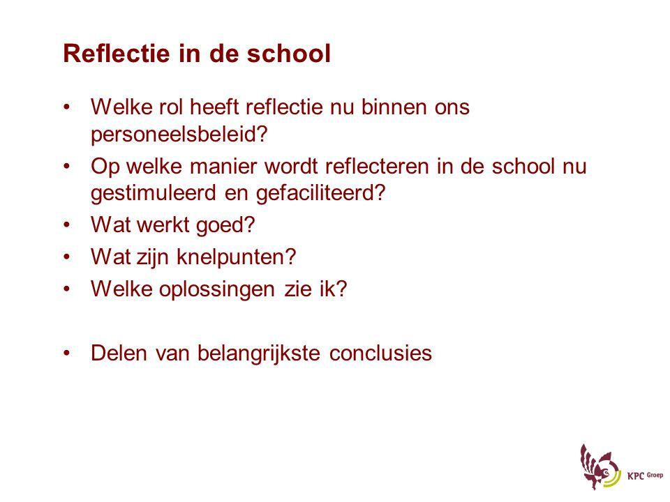 Reflectie in de school Welke rol heeft reflectie nu binnen ons personeelsbeleid