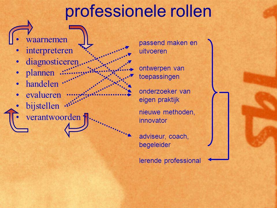 professionele rollen waarnemen interpreteren diagnosticeren plannen