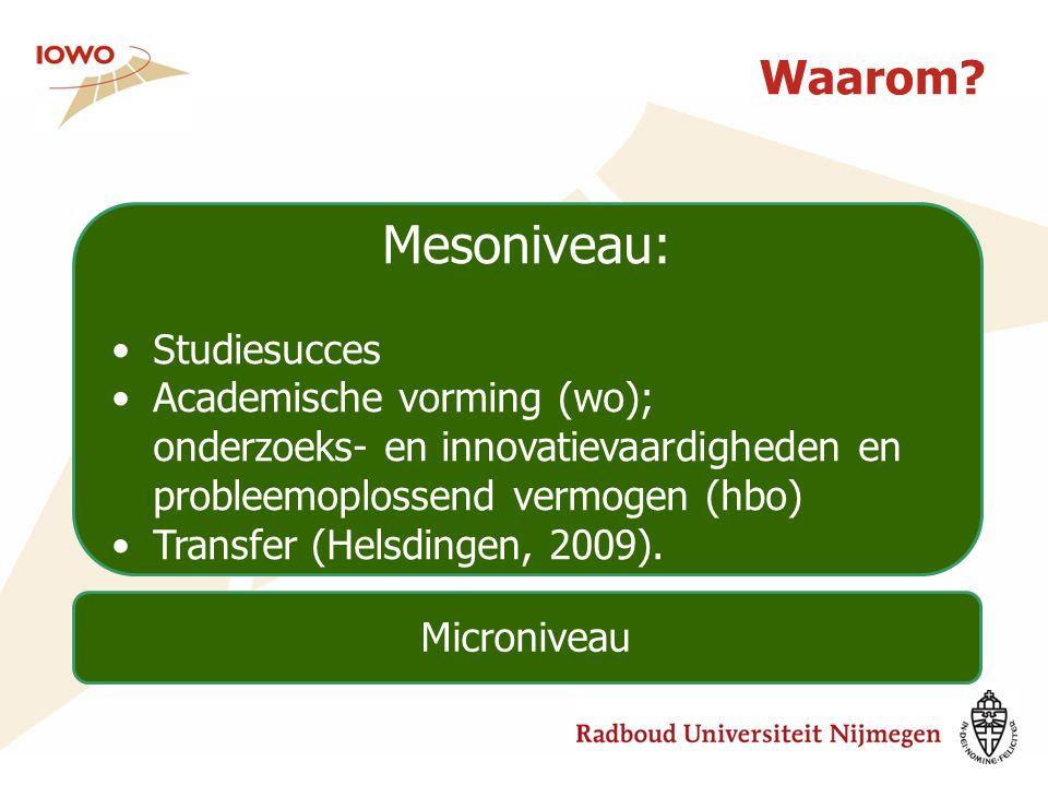 Mesoniveau: Waarom Studiesucces