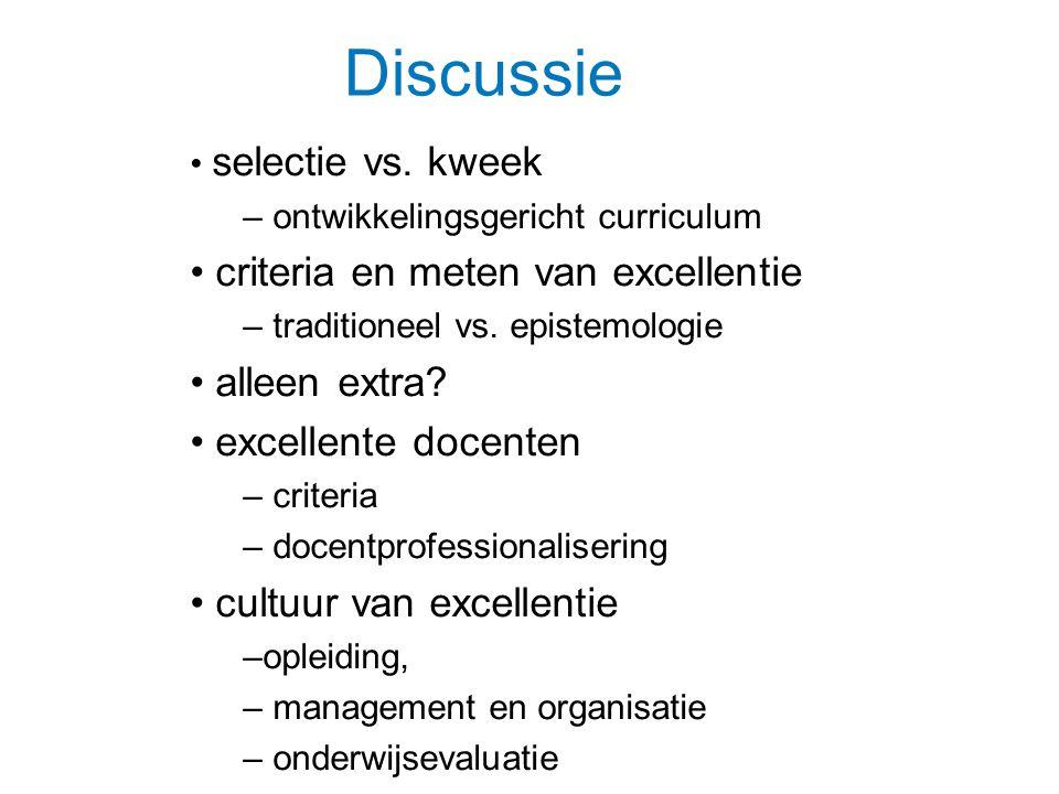 Discussie criteria en meten van excellentie alleen extra