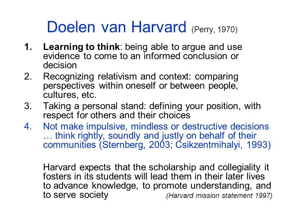 Doelen van Harvard (Perry, 1970)