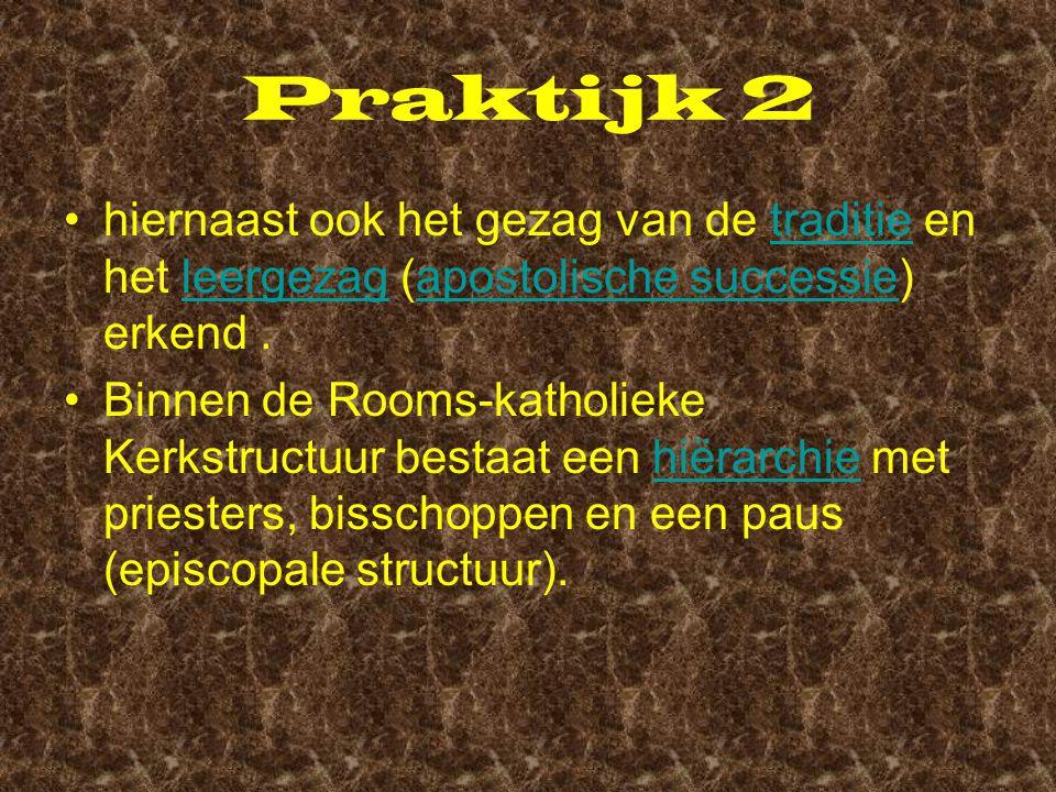 Praktijk 2 hiernaast ook het gezag van de traditie en het leergezag (apostolische successie) erkend .