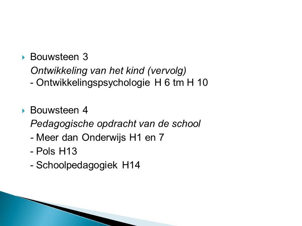 Bouwsteen 3 Ontwikkeling van het kind (vervolg) - Ontwikkelingspsychologie H 6 tm H 10. Bouwsteen 4.