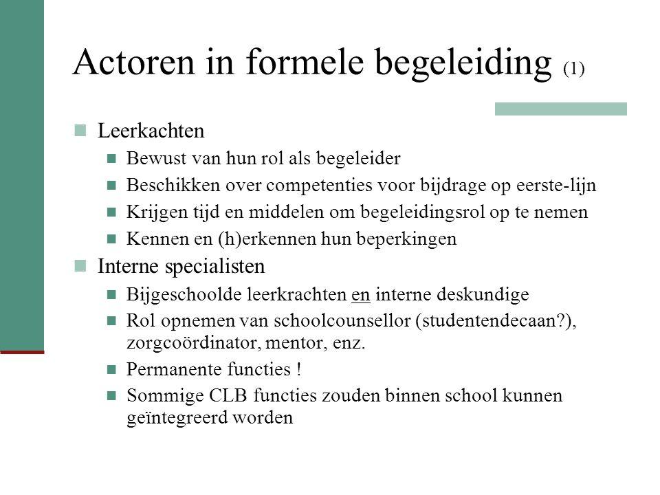 Actoren in formele begeleiding (1)