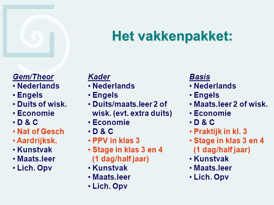 Het vakkenpakket: Gem/Theor Nederlands Engels Duits of wisk. Economie
