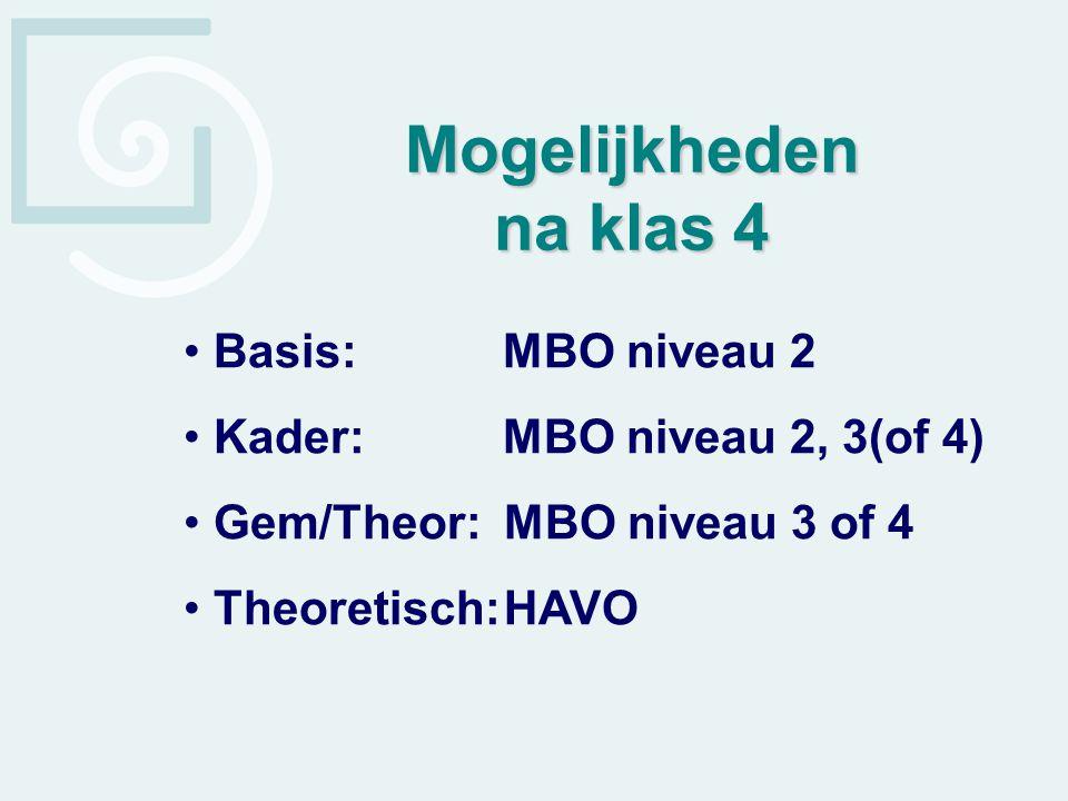 Mogelijkheden na klas 4 Basis: MBO niveau 2