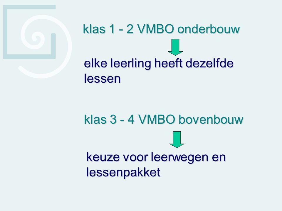 klas 1 - 2 VMBO onderbouw elke leerling heeft dezelfde lessen.