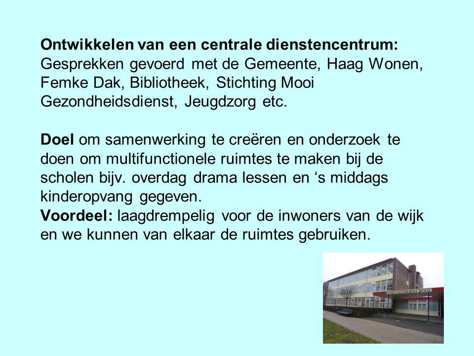 Ontwikkelen van een centrale dienstencentrum: Gesprekken gevoerd met de Gemeente, Haag Wonen, Femke Dak, Bibliotheek, Stichting Mooi Gezondheidsdienst, Jeugdzorg etc.