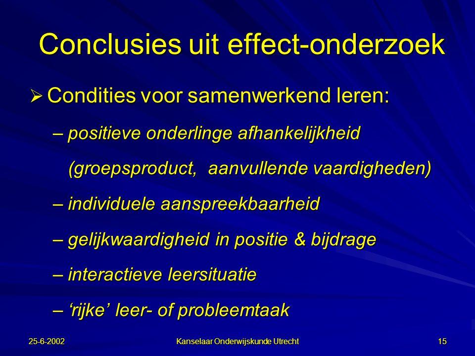 Conclusies uit effect-onderzoek