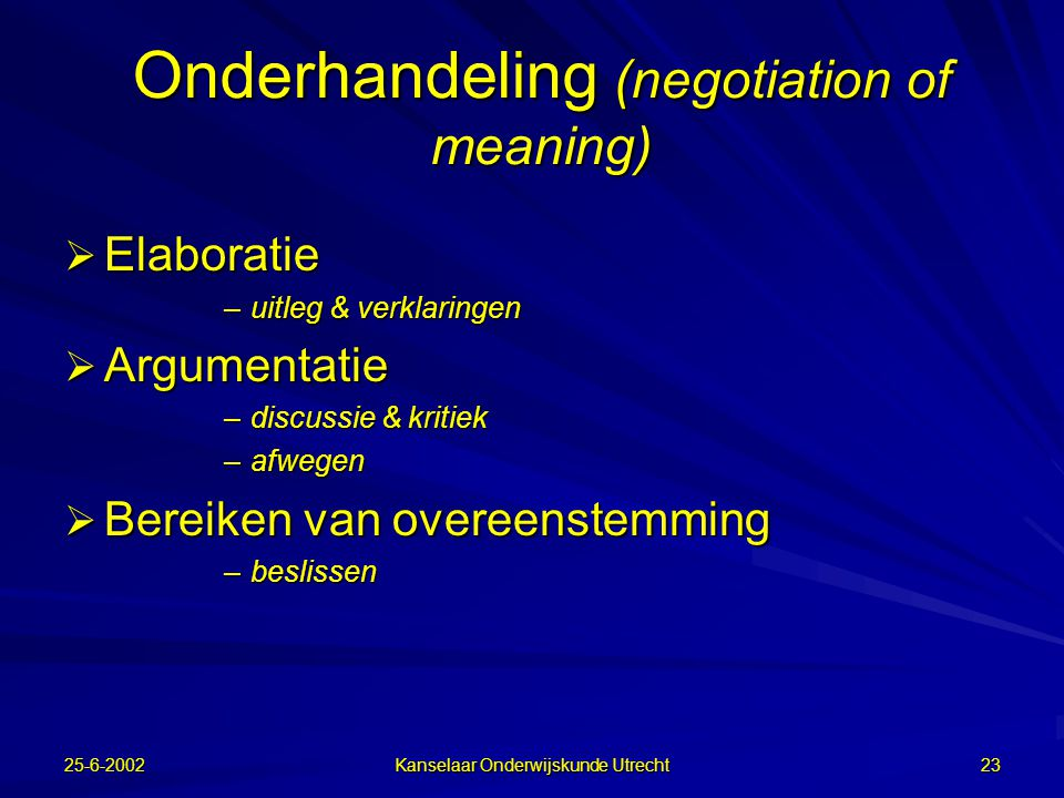 Onderhandeling (negotiation of meaning)
