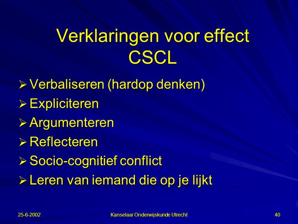 Verklaringen voor effect CSCL