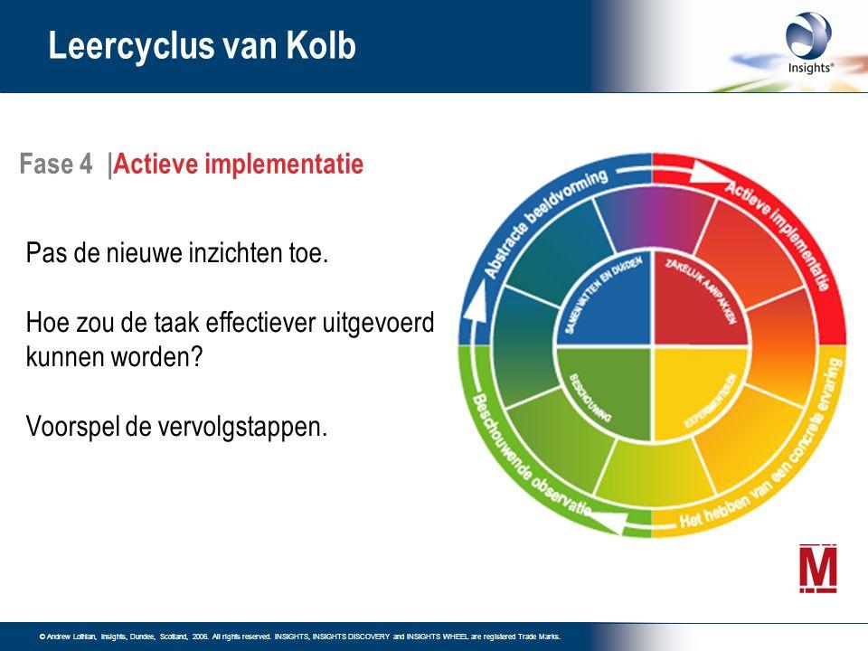 Leercyclus van Kolb Fase 4 |Actieve implementatie