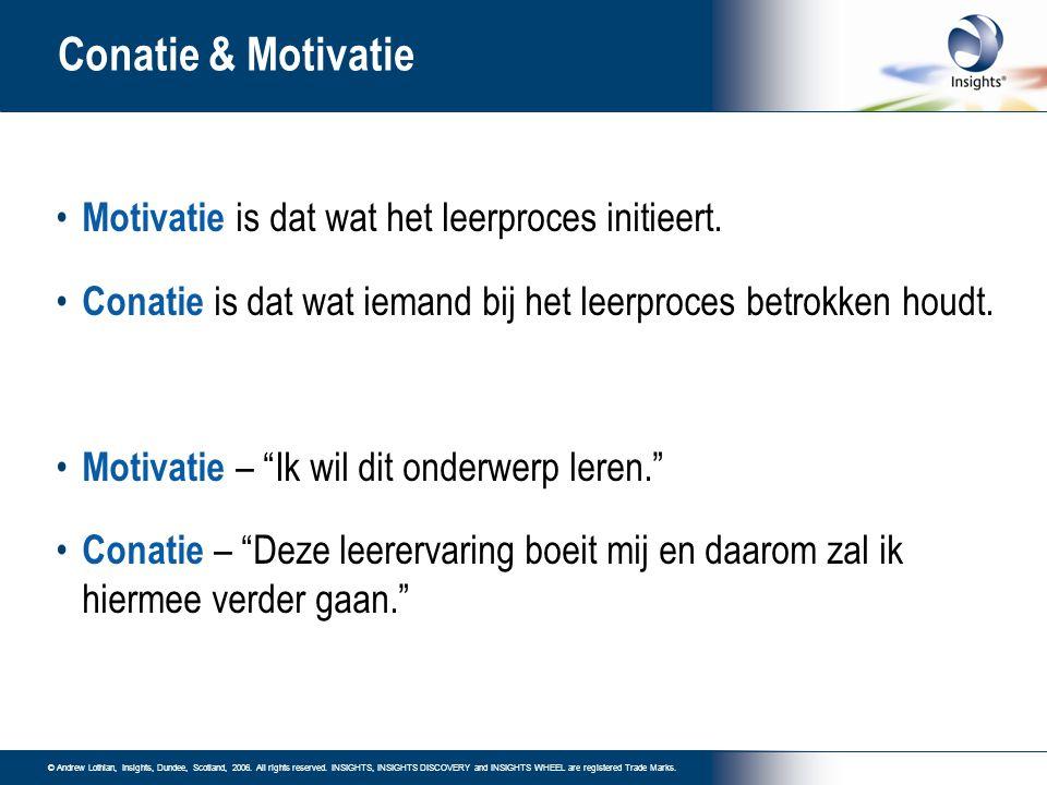 Conatie & Motivatie Motivatie is dat wat het leerproces initieert.