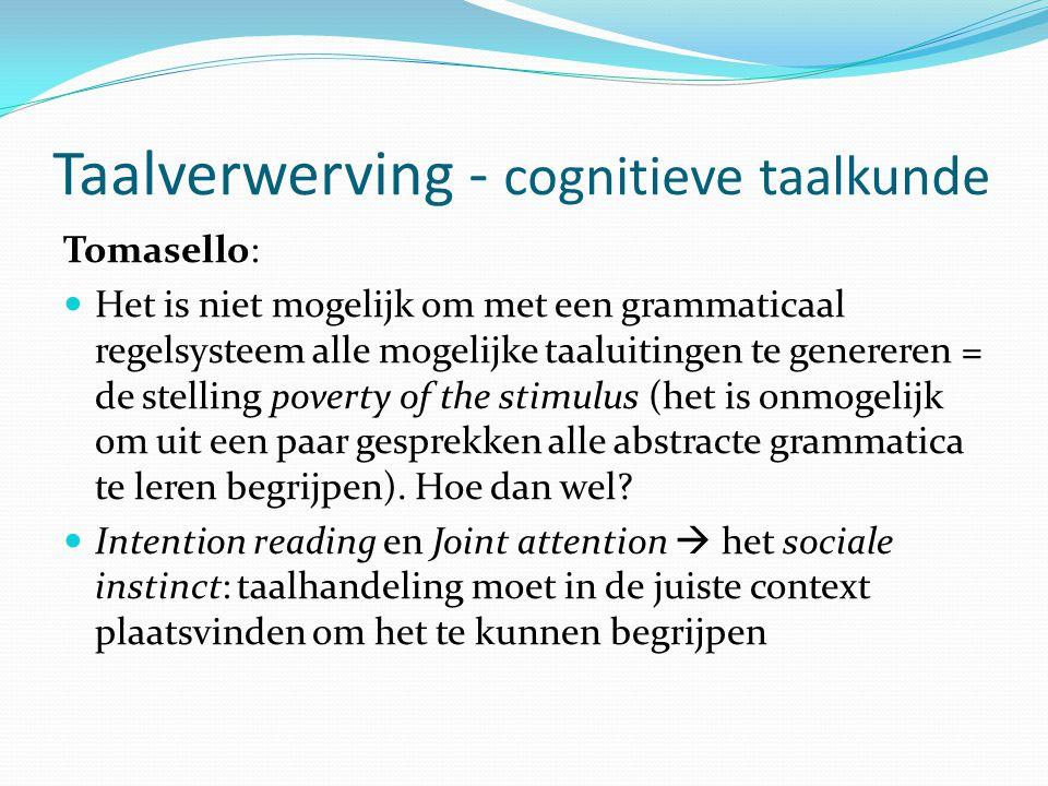 Taalverwerving - cognitieve taalkunde
