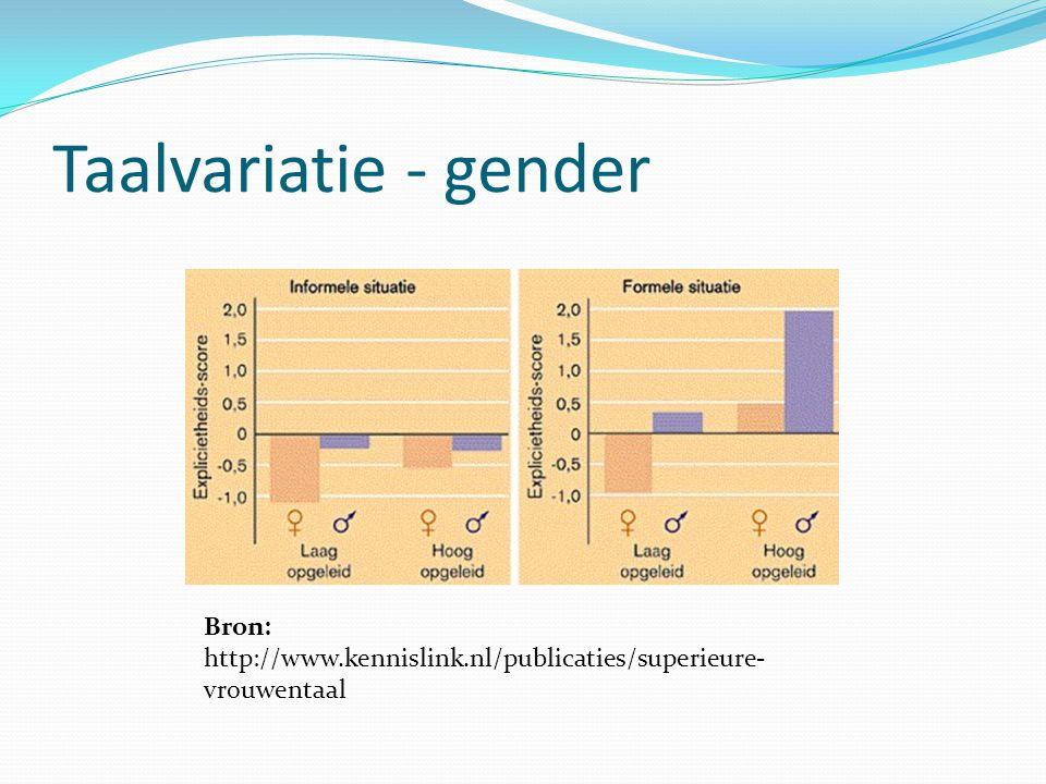 Taalvariatie - gender Onderzoek door Jean-Marc Dewaele.
