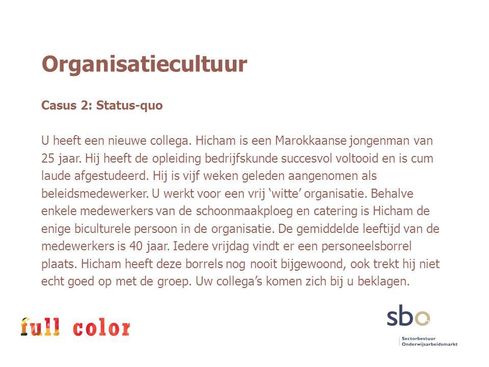 Organisatiecultuur Casus 2: Status-quo