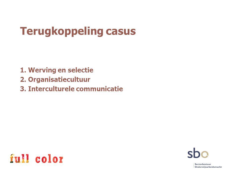 Terugkoppeling casus 1. Werving en selectie 2. Organisatiecultuur