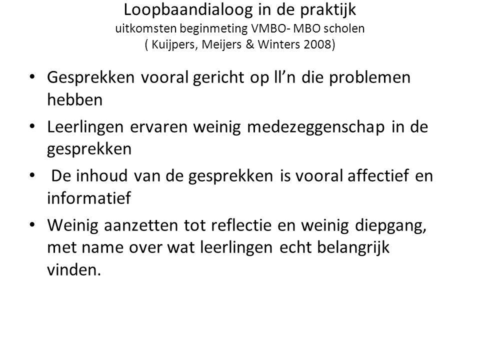 Loopbaandialoog in de praktijk uitkomsten beginmeting VMBO- MBO scholen ( Kuijpers, Meijers & Winters 2008)