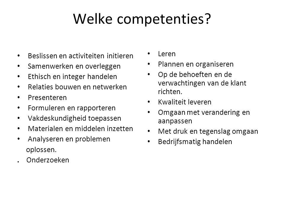 Welke competenties Leren Beslissen en activiteiten initieren
