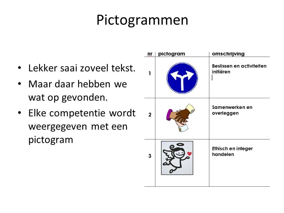 Pictogrammen Lekker saai zoveel tekst.