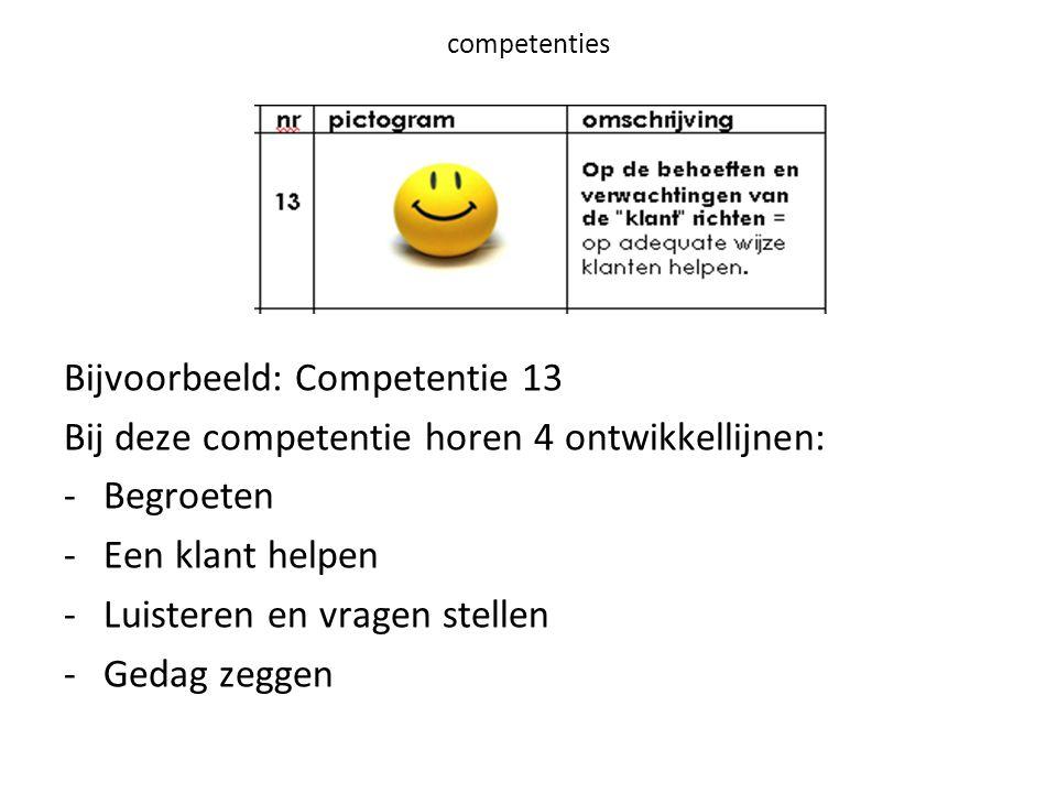 Bijvoorbeeld: Competentie 13