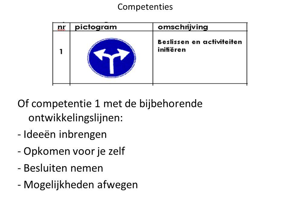 Of competentie 1 met de bijbehorende ontwikkelingslijnen: