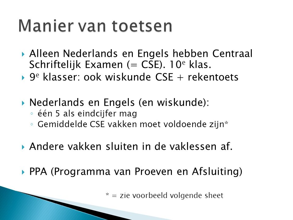 Manier van toetsen Alleen Nederlands en Engels hebben Centraal Schriftelijk Examen (= CSE). 10e klas.