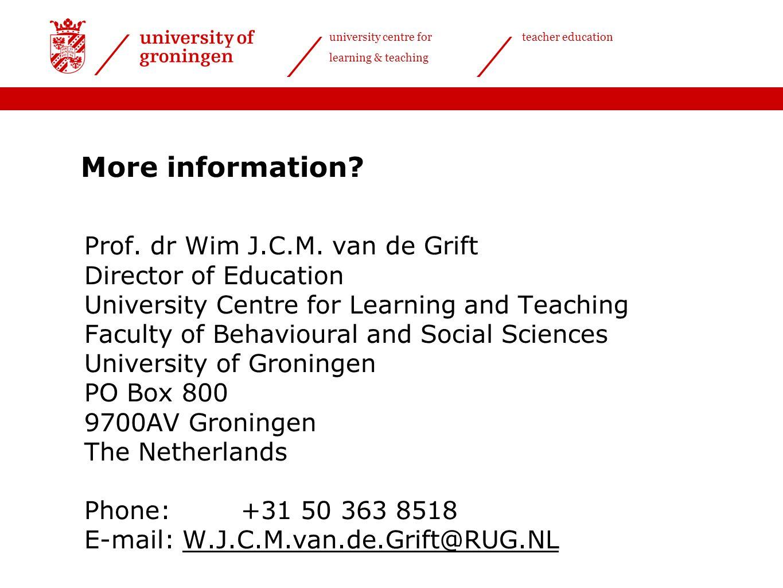 More information Prof. dr Wim J.C.M. van de Grift
