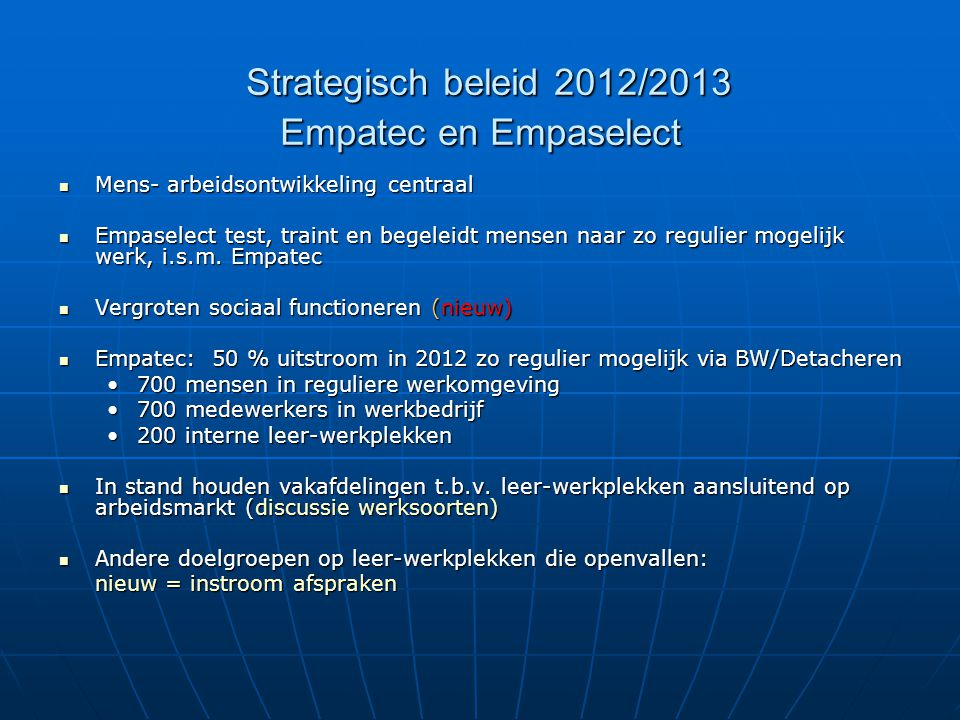 Strategisch beleid 2012/2013 Empatec en Empaselect
