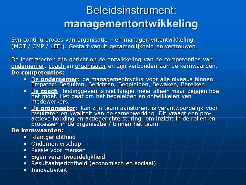Beleidsinstrument: managementontwikkeling