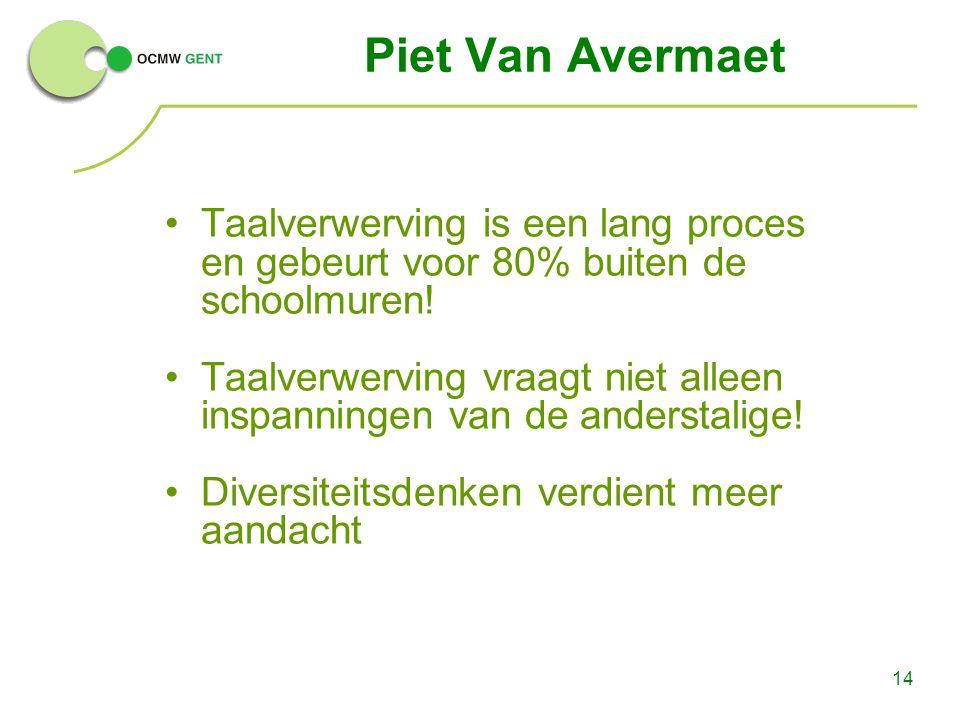 Piet Van Avermaet Taalverwerving is een lang proces en gebeurt voor 80% buiten de schoolmuren!