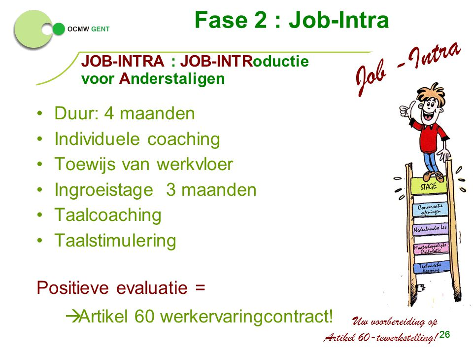 Job -Intra Fase 2 : Job-Intra Duur: 4 maanden Individuele coaching