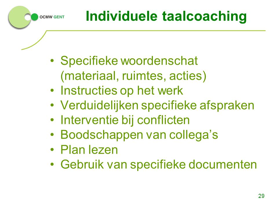 Individuele taalcoaching