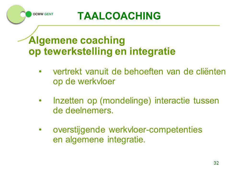 Algemene coaching op tewerkstelling en integratie