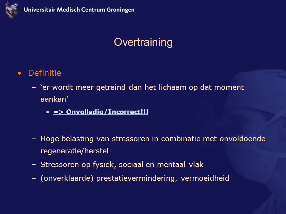 Overtraining Definitie