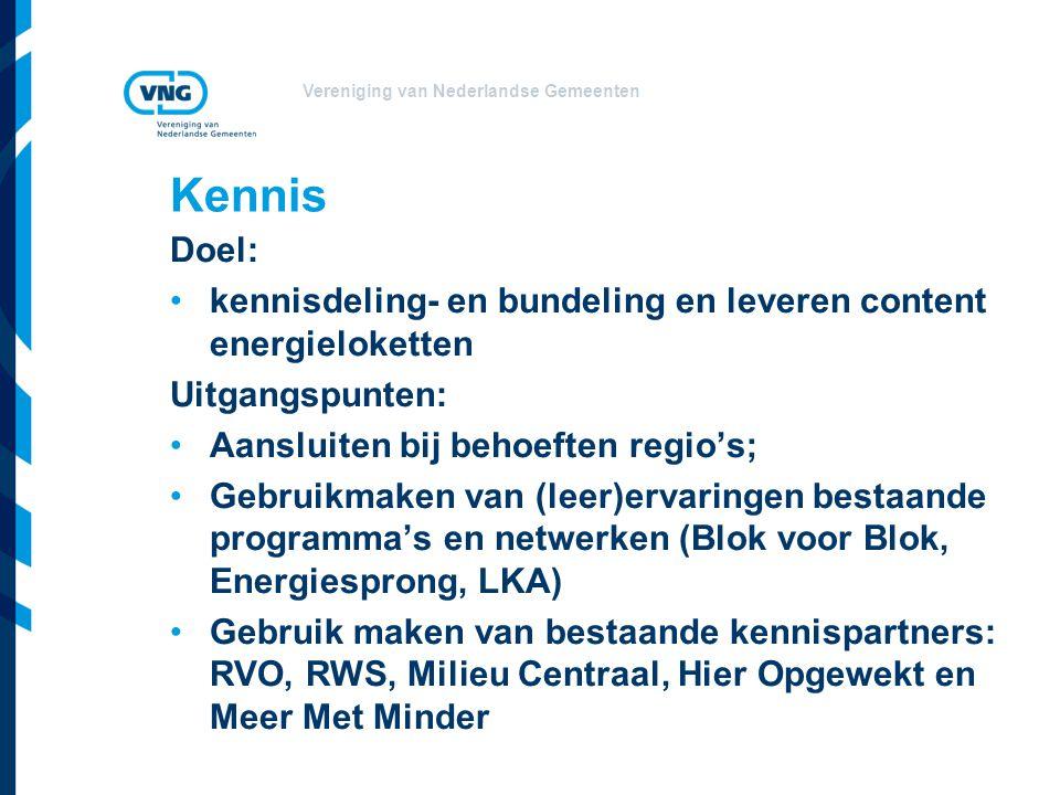 Kennis Doel: kennisdeling- en bundeling en leveren content energieloketten. Uitgangspunten: Aansluiten bij behoeften regio's;
