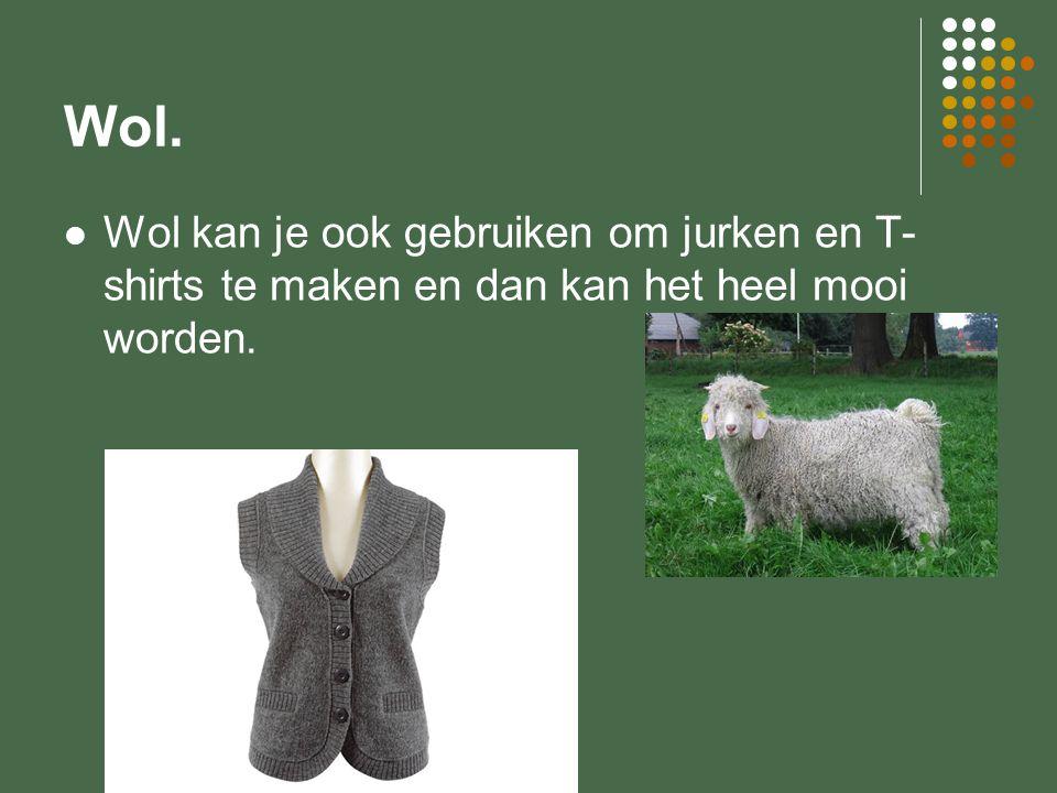 Wol. Wol kan je ook gebruiken om jurken en T-shirts te maken en dan kan het heel mooi worden.
