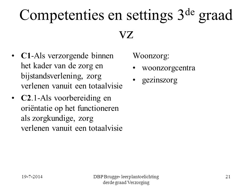 Competenties en settings 3de graad vz
