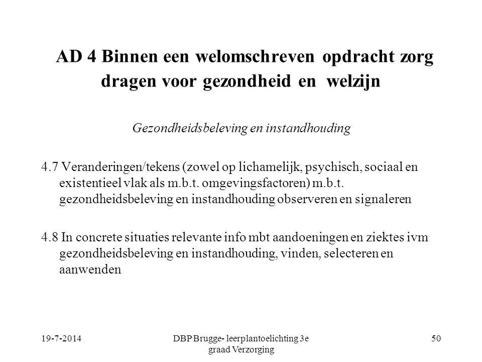 DBP Brugge- leerplantoelichting 3e graad Verzorging