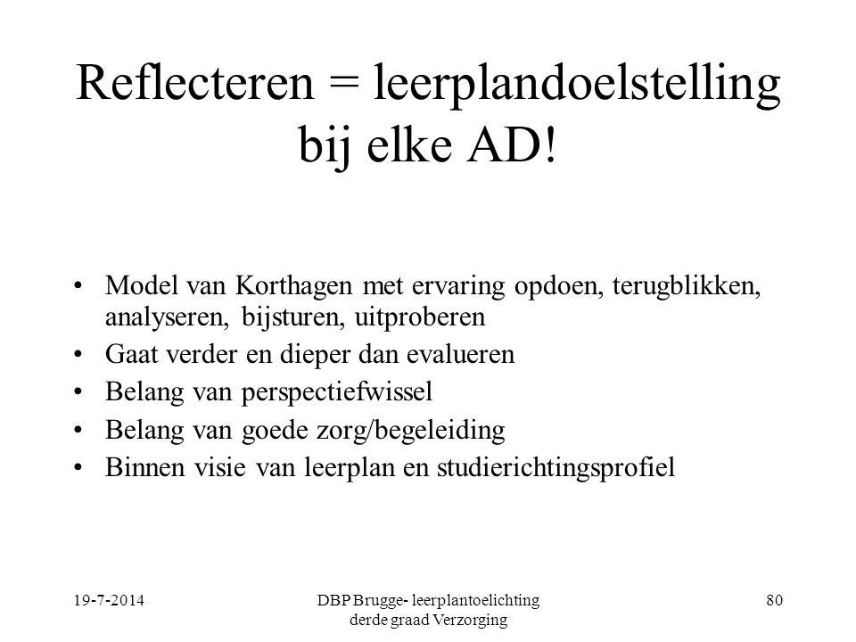 Reflecteren = leerplandoelstelling bij elke AD!