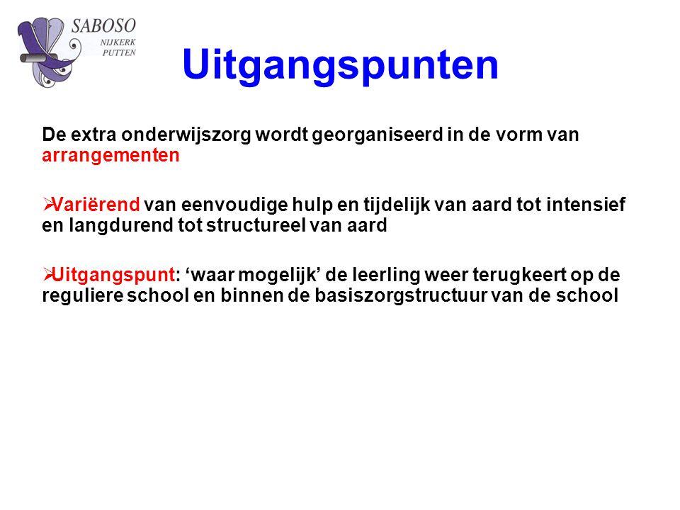 Uitgangspunten De extra onderwijszorg wordt georganiseerd in de vorm van arrangementen.