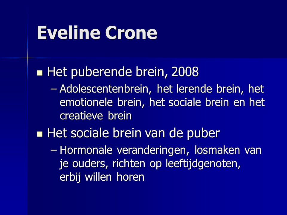 Eveline Crone Het puberende brein, 2008 Het sociale brein van de puber