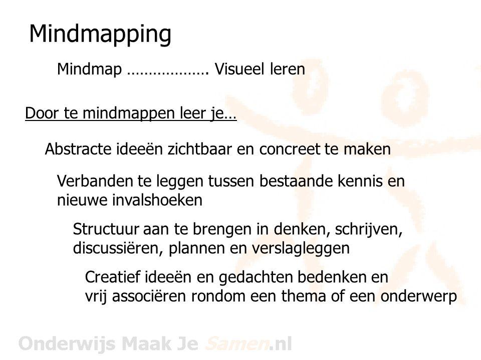 Mindmapping Mindmap ………………. Visueel leren Door te mindmappen leer je…