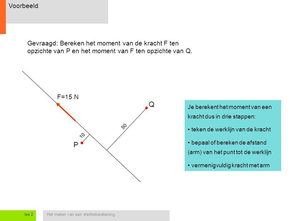 Voorbeeld Gevraagd: Bereken het moment van de kracht F ten opzichte van P en het moment van F ten opzichte van Q.