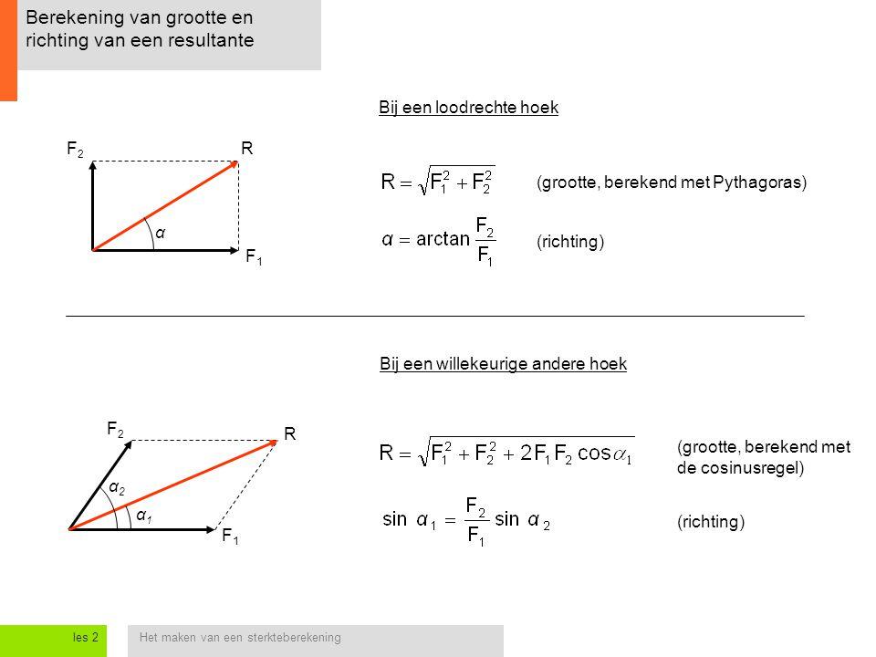 Berekening van grootte en richting van een resultante