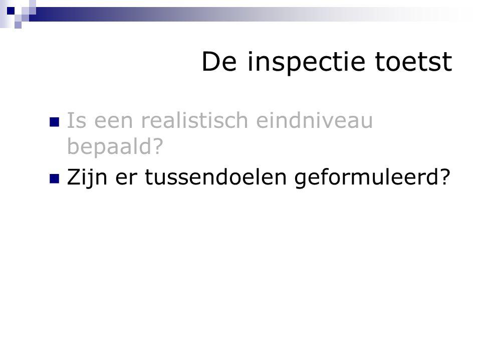 De inspectie toetst Is een realistisch eindniveau bepaald