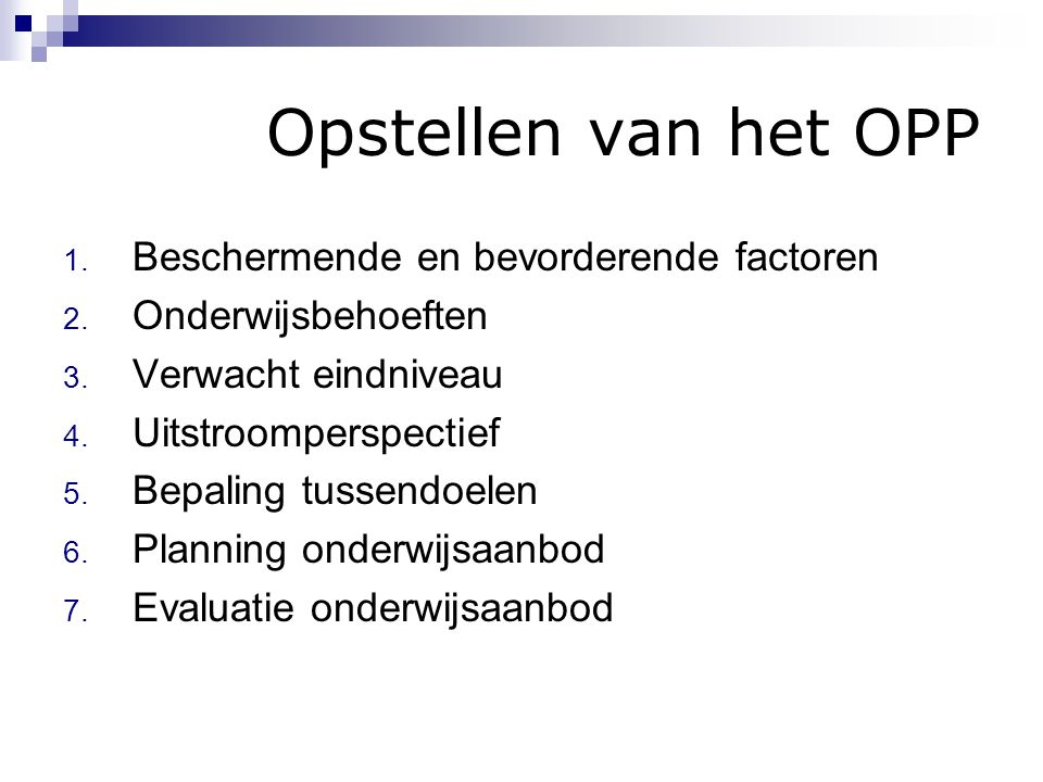 Opstellen van het OPP Beschermende en bevorderende factoren