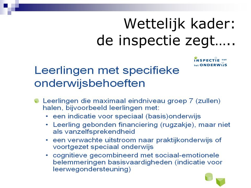 Wettelijk kader: de inspectie zegt…..