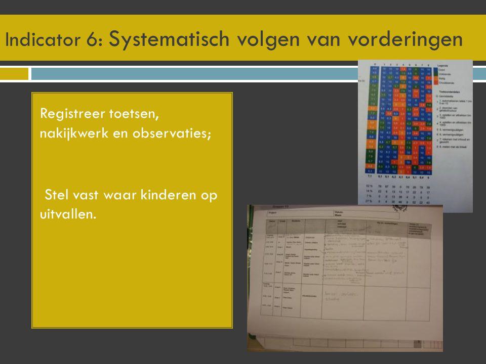 Indicator 6: Systematisch volgen van vorderingen