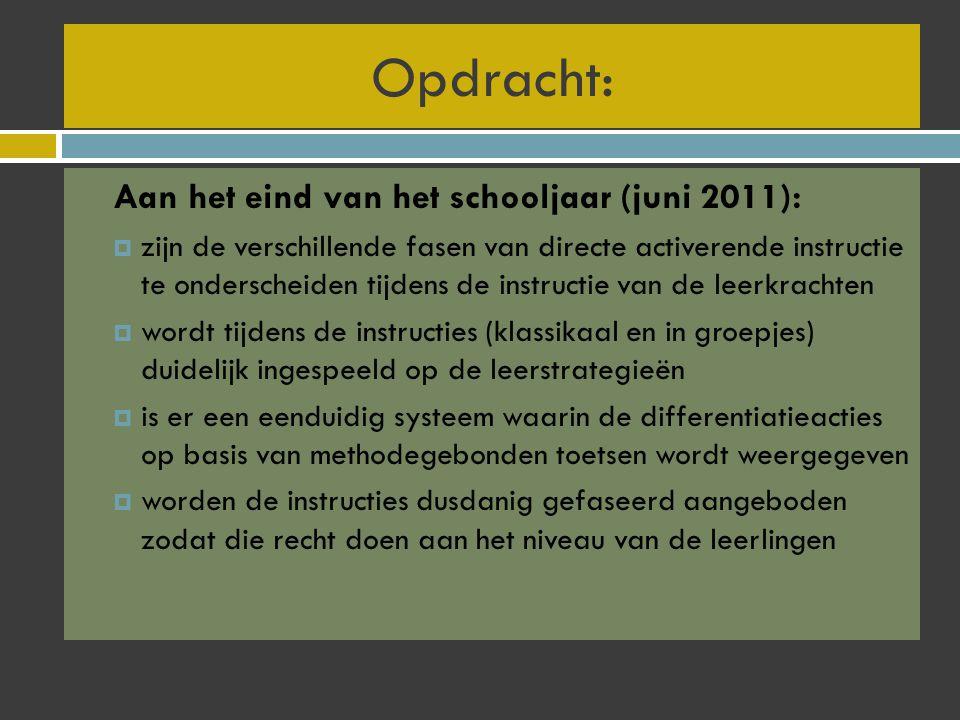 Opdracht: Aan het eind van het schooljaar (juni 2011):